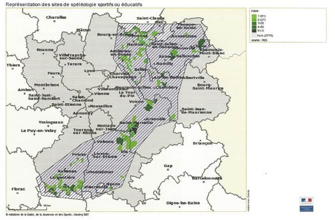 Densité des cavités en région Rhône Alpes